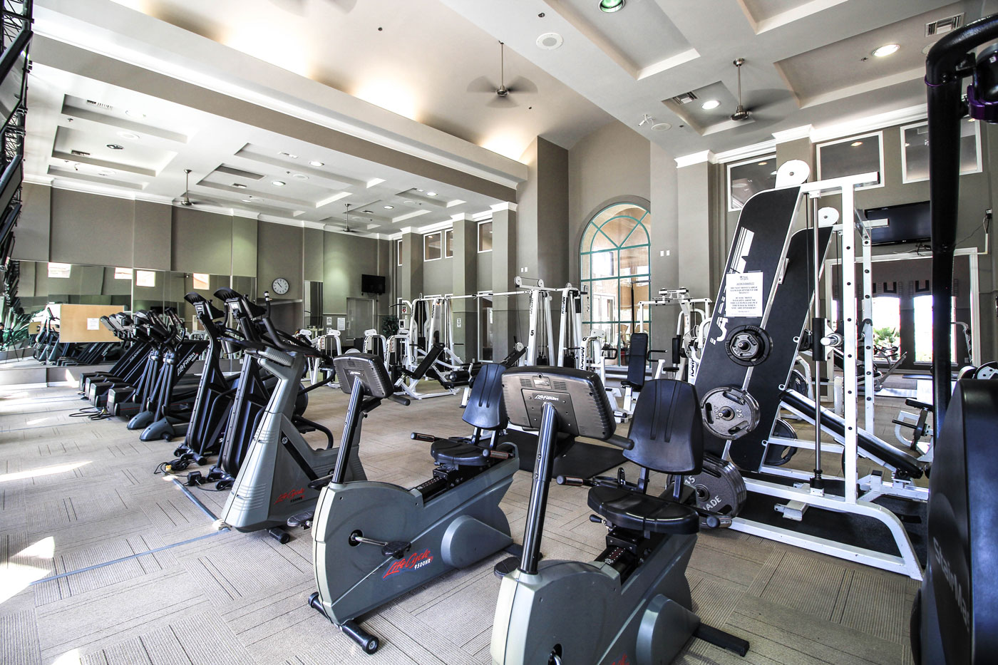 Gym with equipment at San Tropez in Las Vegas.