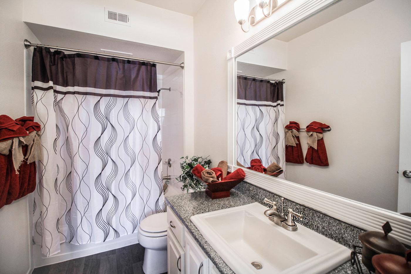 Full bathroom at San Tropez in Las Vegas.